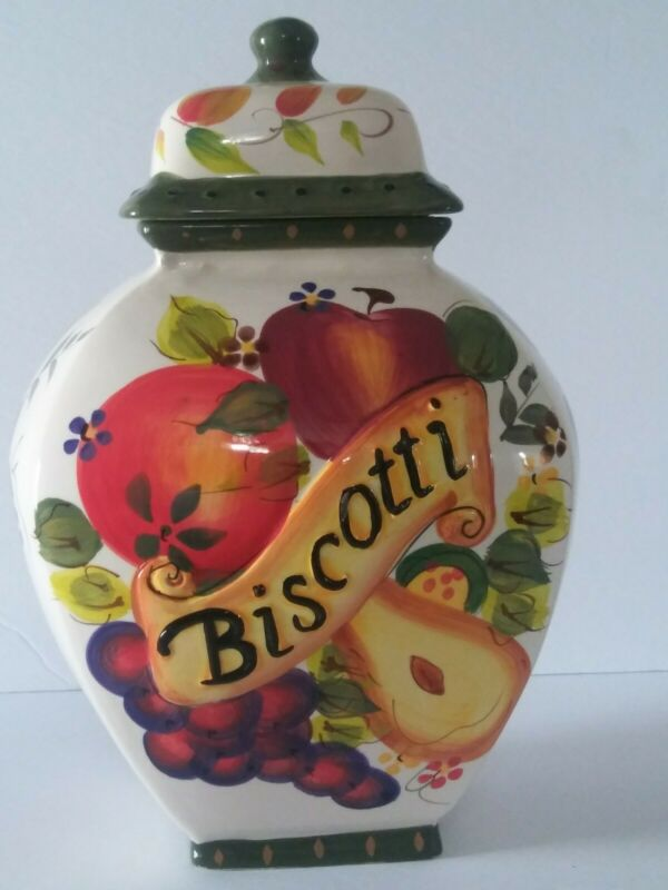 Nonni's Biscotti Cookie Jar W Lid Canister Fruit Design Green Multi Color Prints