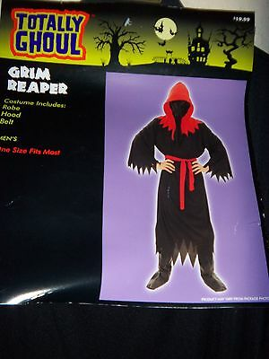 mens GRIM REAPER NEW NWOT HALLOWEEN COSTUME ROBE BELT HOOD black red AWESOME! @@ - Awesome Men Costumes