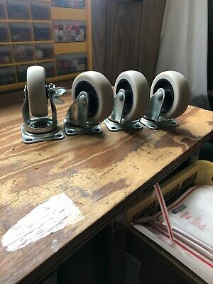 Set Of  Casters--wheels Rubber Metal Old