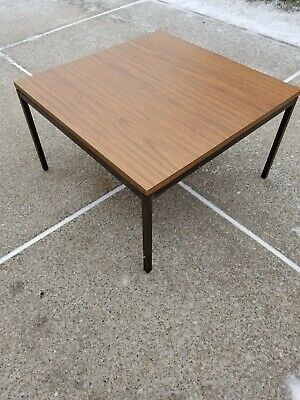 - Florence Knoll Wood Laminate & Bronze Side or Coffee Table