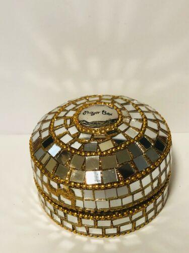 "Prayer Box, Decorative Mirror/Gold Sequins Round Box, 3"" New"