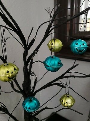 Halloween Pumpkin Turquoise Green Mini Bell Tree Ornaments Decorations Set of 6 - Mini Halloween Tree Ornaments