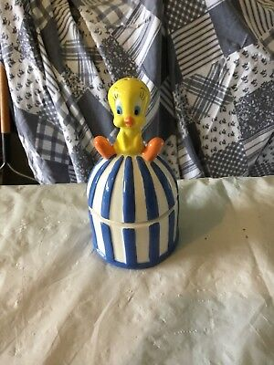 "Looney Tunes Salt and Pepper Shaker Tweety On Bird Cage 5"" Tall Stacked"