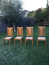 4 high-backed fruitwood chairs with rush seat Turrella Rockdale Area Preview
