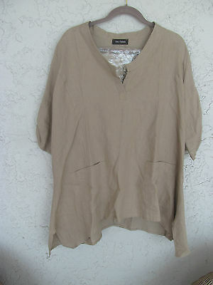 Zulily  168 Nwt Eva Tralala France  Sand Linen Tunic Top Sharkbite Pockets Sz14
