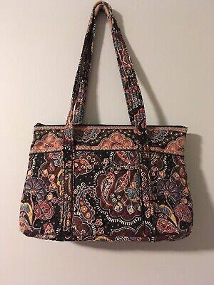VERA BRADLEY Kensington Black Print Small Double Handle Zip Top Tote Bag Purse Small Zip Top Tote