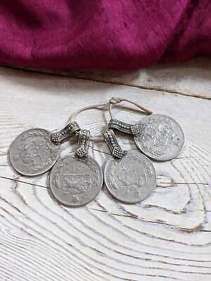 "4x Vintage Jumbo Coin Pendants 1.25"" x 1.75"" Matching (#8925)"