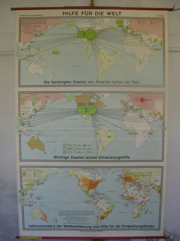 Schulwandkarte Role Map Wall Map School Map Card World Map Earth 1970 137x209