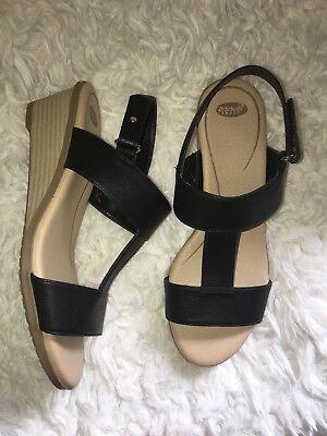 Dr Scholls Womens GIA Wedge Shoes Black Leather Heels Velcro sz 6.5 new (Dr. Scholls Heels)