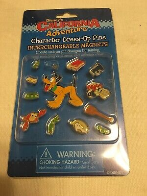 Disney California Adventure Pluto Character Dress-Up 13 Piece Pin Magnets NIB - Disney Character Dress Up