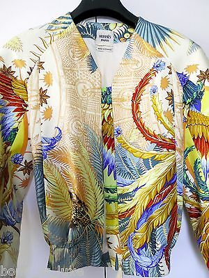 CHIC New Authentic HERMES Women Silk mythiques phoenix Jacket 34 XS S 36 bomber