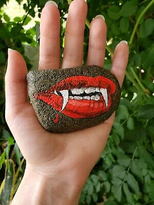 Painted Halloween Lips (Hand Painted Rock Halloween Vampire Lips and Teeth Stone)