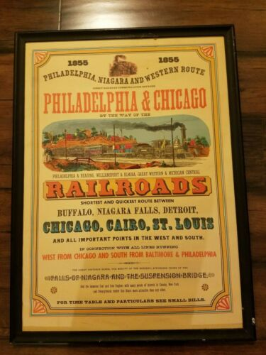 1855 Philadelphia Chicago Buffalo Niagara Detroit Railroads Poster Framed