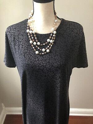 LULAROE Maria Black Gray Floral Hombre Maxi Dress Long NWOT Size Large