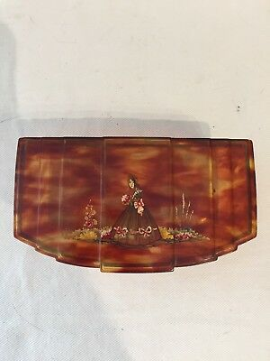 Vintage tortoise color celluloid vanity dresser box with painting of lady.