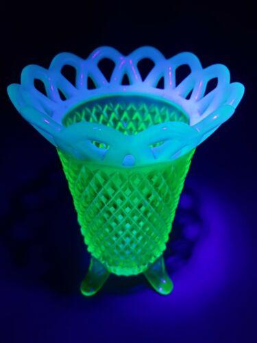 VINTAGE Green Vaseline Uranium Depression Glass vase Footed With Lacing