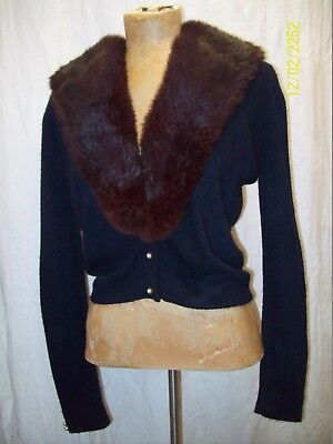 Vintage 1950's Black Acrylic, Brown Mink Pinup Sweater by Turbo Size Medium