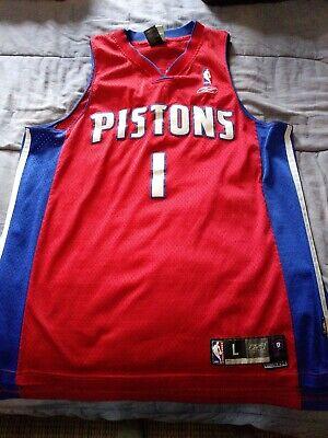Chauncey Billups Detroit Pistons NBA Reebok  Red Jersey Men's Size L. Length+2in