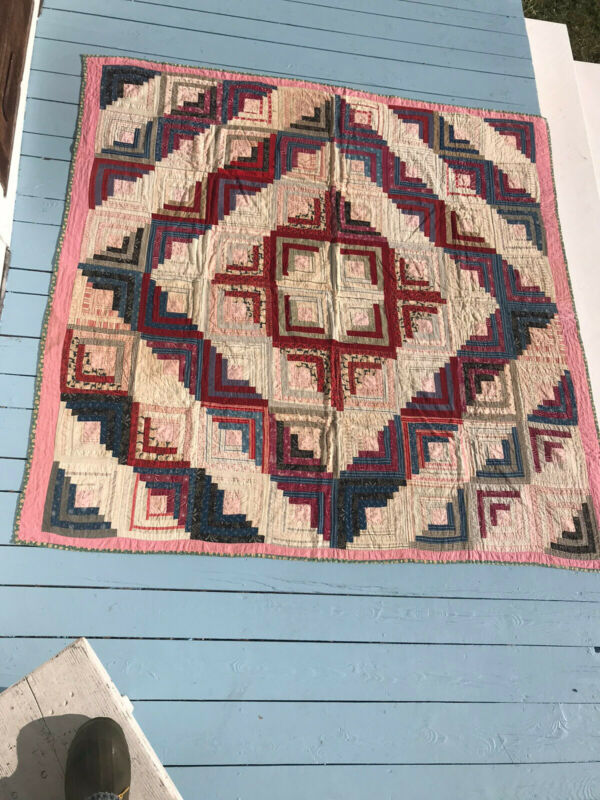 Antique Nice Early American Folk Art Log Cabin Quilt Calico