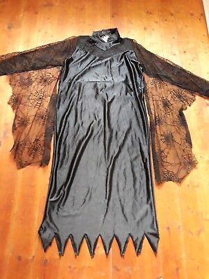 Schwarze Frau Halloween-kostüm (Kostüm Spinnenfrau Halloween Fasching Damen Größe 38-42/M Langes schwarzes...)