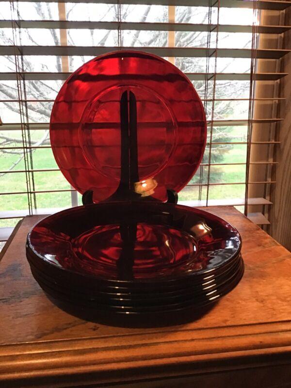 "7 Vintage Anchor Hocking Royal Ruby 9"" Dinner Plates"