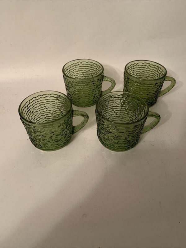 4 Anchor Hocking Soreno Green Punch Cups Mugs Vintage Mid Century Modern