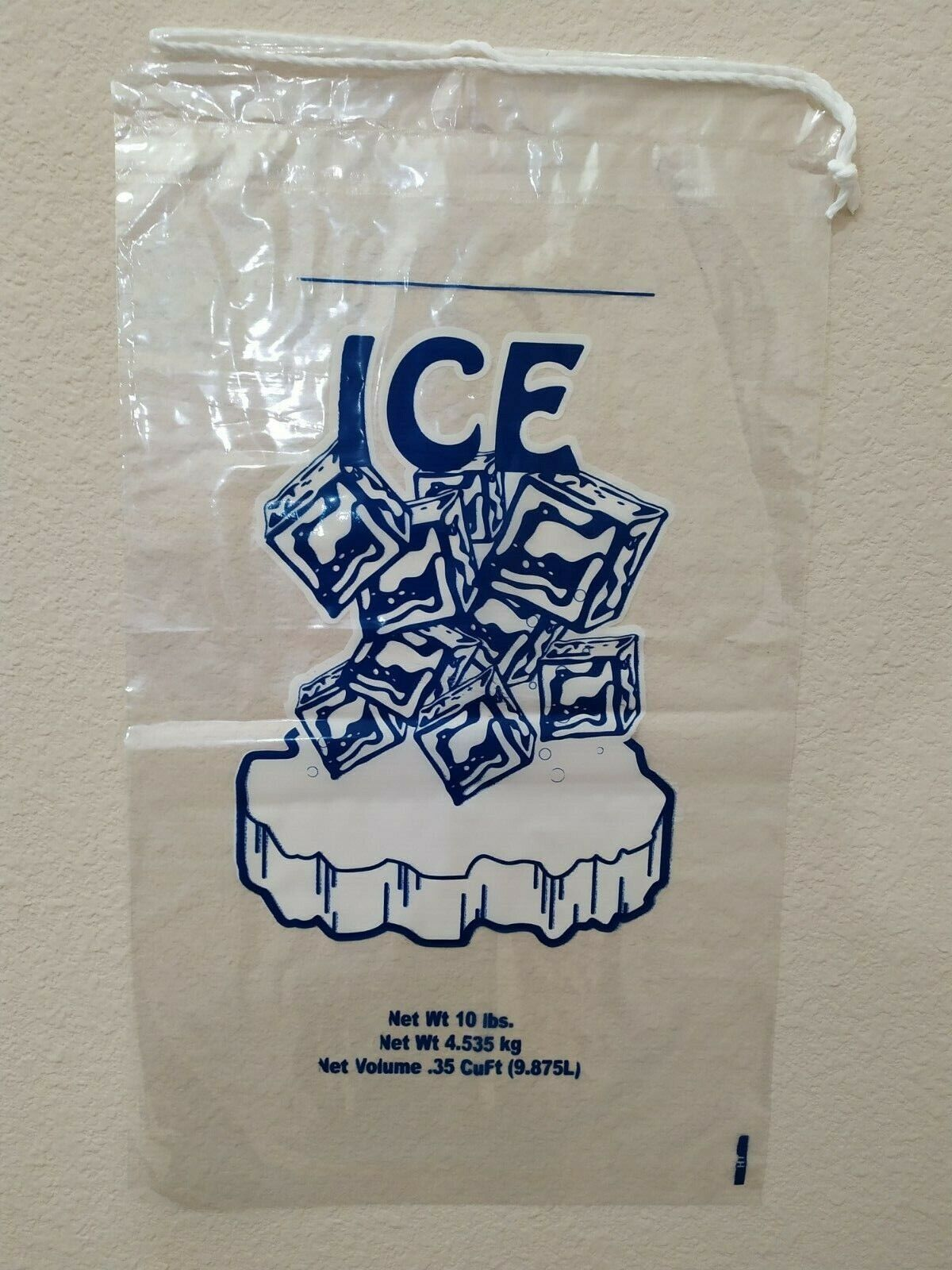 100 COMMERCIAL CRYSTAL 10 LB LBS 15 MIL Plastic Ice Bag Bags With Drawstring