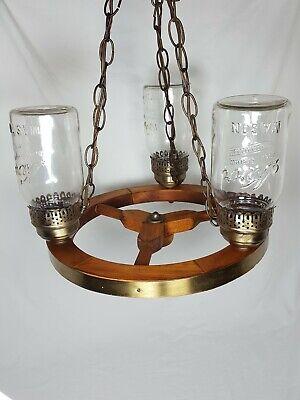 Used, Vintage 3 Lamp Wooden & Brass Wagon Wheel Chandelier Light Kerr Mason Jar for sale  Neenah