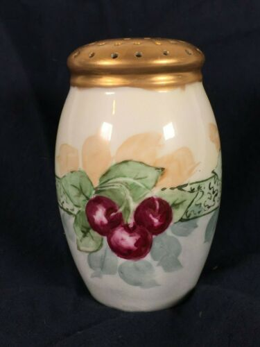"""Vintage Hand Painted """"cherries and ribbon"""" Ceramic Pepper Shaker (Large)"""