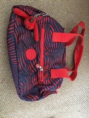 Kipling Bag Red And Navy Blue With Monkey VGC Lots Pockets