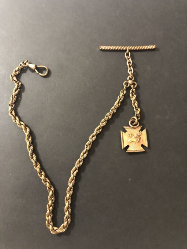 ANTIQUE LOYAL ORDER OF MOOSE WATCH FOB & CHAIN LOOM