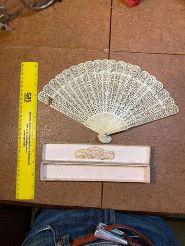 Antique  Chinese or Japanese Pierced Reticulated Bone Fan