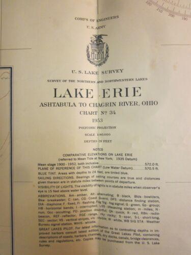 Army Corp Engineers Maritime Survey Chart Map 1953  Lake Erie Ashtabula  39x30