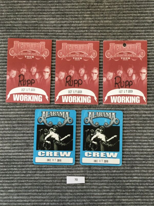 Alabama The American Farewell Tour 2003 2018 Working Crew Backstage Pass Lot #70
