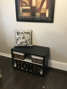 Bench/storage/toy box on wheels refurbished in black/light gray