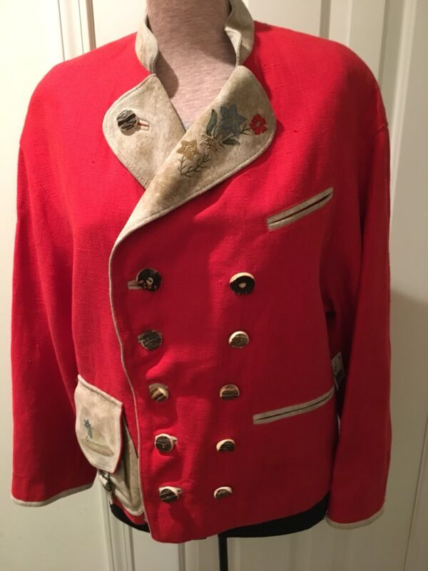 NWT MEINDL Red JACKET S-M Linen Germany Suede Embroidered Flowers $800 Austrian