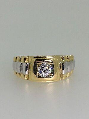 Impressive Solitaire Diamond (0.51ct) & 18K Two-Tone Gold ROLEX Style Mens' Ring