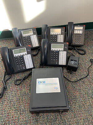 Esi-50 Phone System With Power Supply And 4 Esi-50d 1 Esi-30d Phones