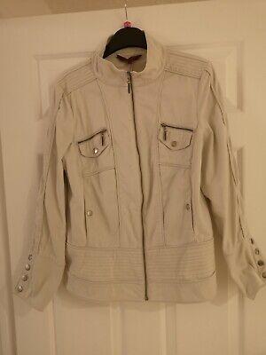 John By John Richmond, Cream Biker Style Jacket - Size 14