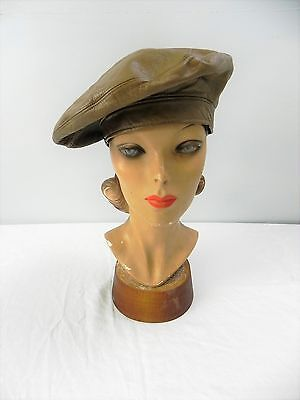 ED- Vintage 70s Frank Olive Bergdorf Goodman NWT tan brown leather beret hat