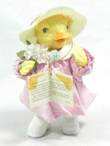 HTF Possible Dreams Clothtique Baby Chick Figurine Spring Easter Bonnet Flowers