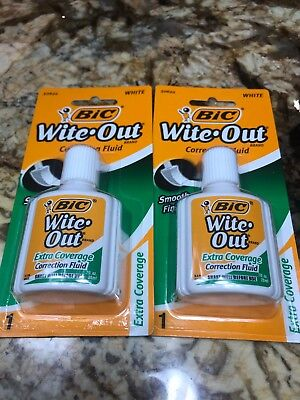 2 Bic White Wite Out Extra Coverage Correction Fluid New Free Ship