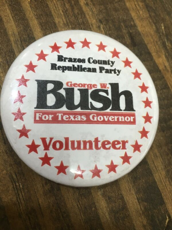 George W Bush VINTAGE Governor Pin Button Political Republican Volunteer
