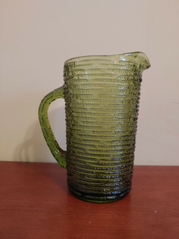 Vintage Mid Century Modern Olive Green Anchor Hocking Soreno 28 oz Water Pitcher