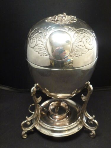 Antique Silver Plate  Victorian Egg Coddler/Warmer/Boiler   LEAVES ON THE TOP