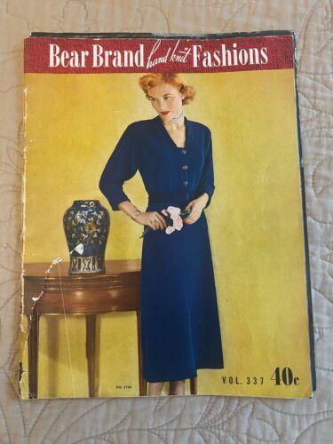 1948 BEAR BRAND HAND KNIT FASHIONS PATTERN MAGAZINE  VOL 337 torn cover