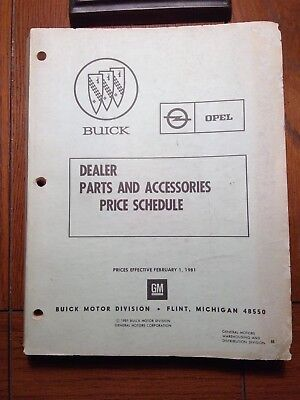 1981 Buick Opel Dealers Parts and Accessories Price Schedule