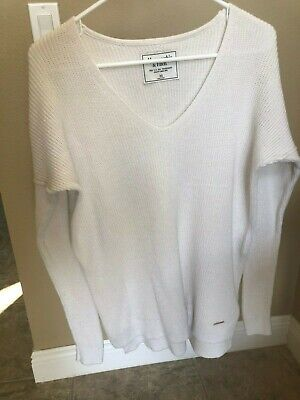 Women's ABERCROMBIE & FITCH cream v-neck sweater, tunic, M
