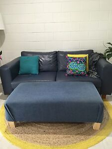 Navy leather sofa and footstool Cairns North Cairns City Preview