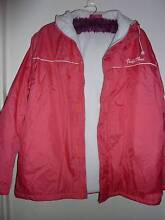 SZ L (14/16) DARK PINK PARKA FULLY LINED WITH HOOD - AS NEW Collingwood Park Ipswich City Preview